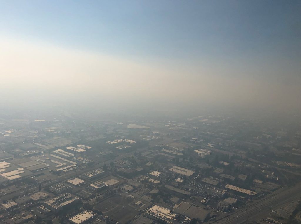 Smoke from the Camp Fire over California.
